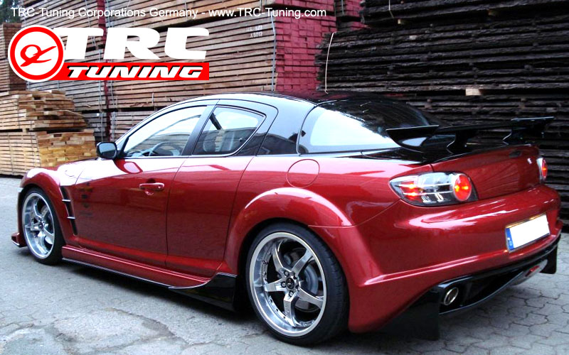 mazda rx8 modified red. trc gt sports rear bumper spoiler mazda rx8 rx8 modified red